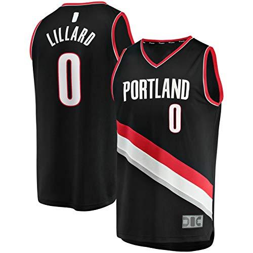 OYFFL Damian Top Sin Mangas Lillard Traning Jersey Portland Basketball Jersey Trail Manga Corta Blazers #0 Fast Break Jersey Negro - Icon Edition-M