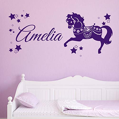 Geiqianjiumai Benutzerdefinierte Wandtattoo Vinyl Waschbecken Personalisierte Name Pferd Transfer Pony Einhorn Kind Mädchen Zimmer Kinderzimmer Dekoration Lila 57X127 cm