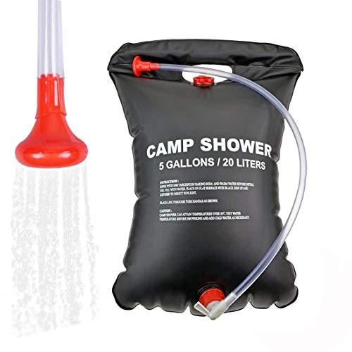 Simoda Ducha de Campamento, Bolsa de Camping de Ducha Solar portátil Bolsa de PVC Negro Ultraligero de 5 galones para Acampar en Verano Viajes de Senderismo al Aire Libre (#1)