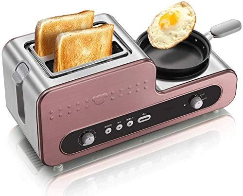 GJJSZ Frühstücksstation Center - 2 Scheiben Toaster,Speck- und Fleischdampfer - One-Touch-Bedienelemente,Edelstahl