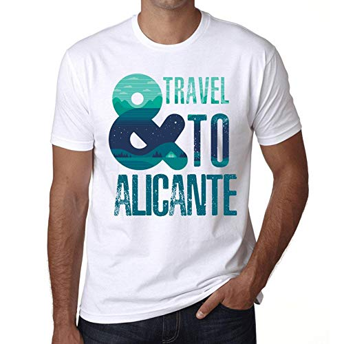 Hombre Camiseta Vintage T-Shirt Gráfico and Travel To Alicante Blanco