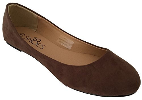 Shoes 18 Womens Ballerina Ballet Flat Shoes Solids & Leopards (9, Brown Micro 8600)