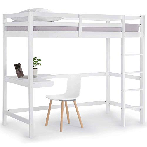 VonHaus Wooden Study Bunk Bed Frame ? Stylish 3FT Single Solid Pine High Sleeper with Desk to Maximise Space ? Ideal Student Furniture (Mattress not Included)