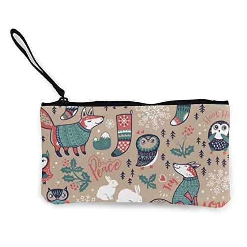 Winter Elemente Fox Owls Schneeflocke Hase Weihnachten Leinwand Geldbörse Tasche Reißverschluss...