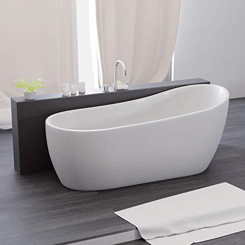 Tronitechnik Freistehende Badewanne Kasos 170cm x 80cm x 72cm Wanne aus Acryl mit Siphon/Ablaufgarnitur in weiß Luxus Badewanne im Nostalgielook