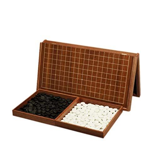 GLXLSBZ Go-Spielset, doppelte Konvexe Yunzi-Steine mit Zwei Go-Pieces-Tabletts und zusammenklappbarem MDF-Go, Spielgeschenke für Herren und Jugendliche