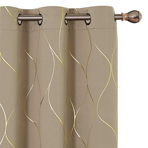 Deconovo Gold Wave Printed Thermal Insulated Blackout Curtains Room Darkening Curtain Energy Efficient Panel Grommet Top Drapes for Bedroom 42W x 45L Inch 2 Panels Khaki