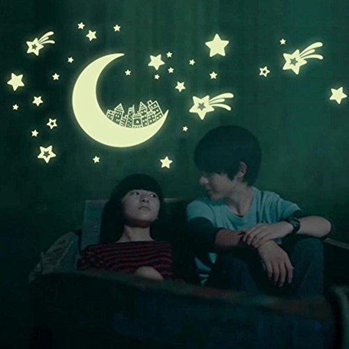 Bande dessinée Star Enfants Fluorescent Lumineux Autocollants Salon Canapé TV Fond Stickers Muraux (21x30 cm)