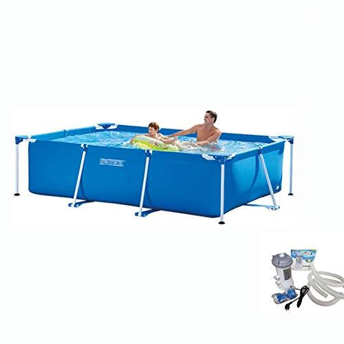 DYS@ Piscine Familiale Grand Support Rectangulaire Piscine PVC Enfant en Plein Air Jardin Pataugeoire Sécurité Tough Paddling Pools Set Étang De Pêche,300 * 200 * 75cm