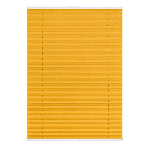 Lichtblick PTV.100.130.11 Plissee Klemmfix TOP, ohne Bohren, verspannt Gelb, 100 cm x 130 cm (B x L)