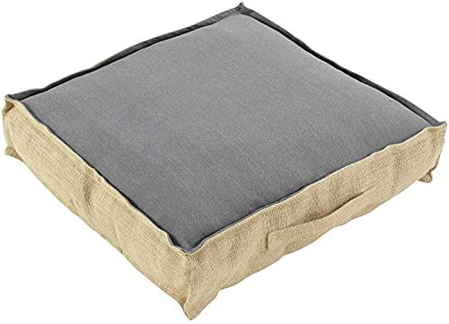 TIENDA EURASIA® Cojines de Suelo - 100% Algodón y Yute - 45 x 45 x 10 cm - Ideal para sillas, Bancos, palets, Suelos - Uso Interior y Exterior (Gris)