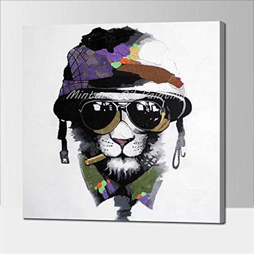 Kunst schilderij acryl canvas olieverfschilderij kleurrijke hond modern abstract dier kunst aan de muur kinderkamer decoratie frameloos 80x80cm
