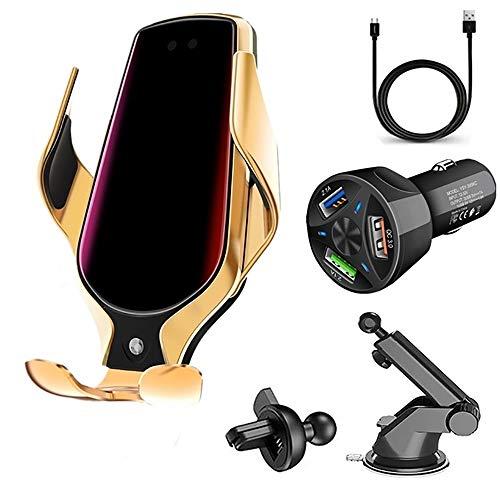 KuWFi - Cargador de coche inalámbrico, 10 W, Qi de carga rápida, soporte de teléfono de ventilación de coche con fijación automática para iPhone 12 Series/11/11 Pro/11Pro Max/Samsung S20/S10 (Gold)