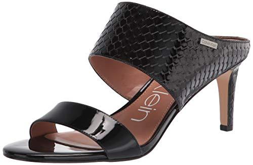 Calvin Klein Women's Cecily Sandal, Black Patent, 8.5