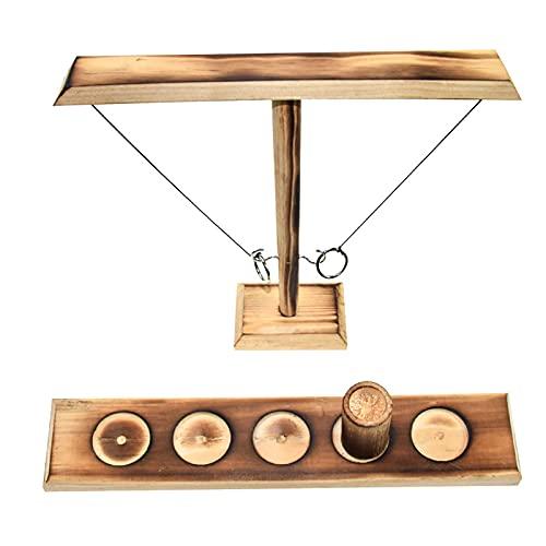 LGLE Ring Toss giochi da tavolo per bambini e adulti, giochi per feste e giocattoli con scaletta per tiro, per esterni, interni, in legno, fatti a mano, gioco interattivo veloce