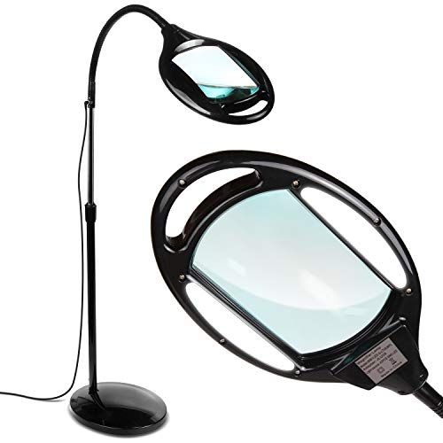 Brightech LightView Pro - Full Page Magnifying Floor Lamp - Hands Free Magnifier with Bright LED Light for Reading - Flexible Gooseneck Holds Position - Standing Mag Lamp
