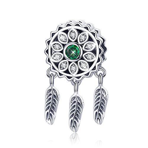 Abalorio de atrapasueños de plata de ley 925 con cristal verde compatible...