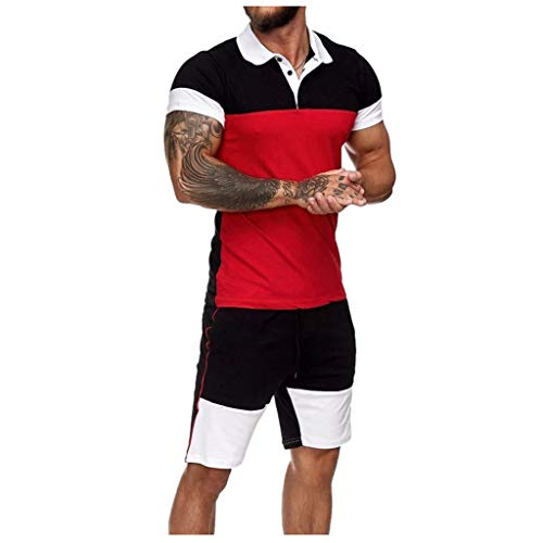 Kenmeko Uomo Fitness Palestra Completi Sportivi Abbigliamento Camicie a Compressione Pantaloni a Compressione Pantaloncini (XXL,Nero)