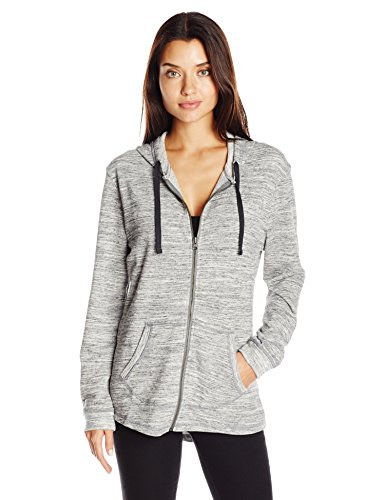 Hanes Women's French Terry Full-Zip Hoodie, Black Space Dye, Small