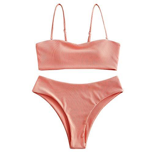 ZAFUL Damen Gerippter Bandeau Bikini Set Spaghetti-Träger Hoch tailliert Badeanzug