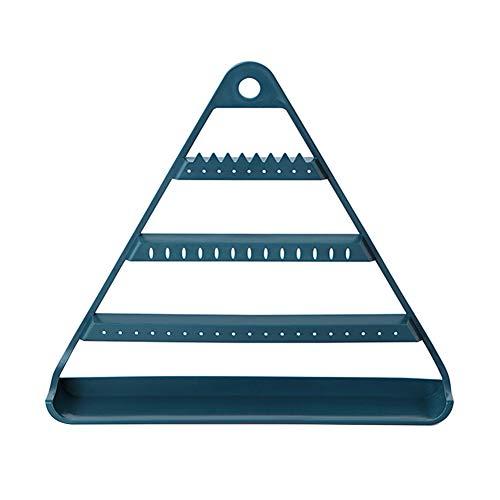 Kalaokei Estante de almacenamiento para pendientes, pendientes, joyeros, para el hogar, con triángulo, múltiples capas, para colgar, color azul oscuro