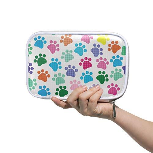 Linomo - Estuche multifuncional con diseño de huellas de perro, con cremallera,...