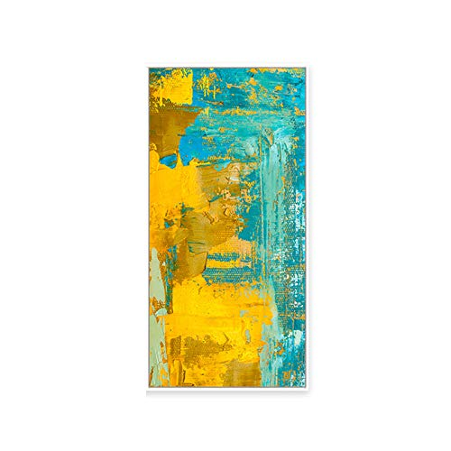 Kei Grüne Gelbe Leinwanddrucke Abstrakte Malerei mit Rahmen für Hauptwanddekoration Kunstmalerei Gestreckte und Gerahmte Moderne Dekorationsmalerei,Schwarz,50x100cm