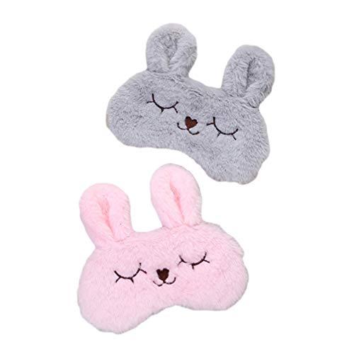 Minkissy 2 unidades de antifaz de conejo, cojín de frío, antifaz para dormir, antifaz de algodón, antifaz para dormir, antifaz de refrigeración para niños, hombres y mujeres, viajes (rosa gris