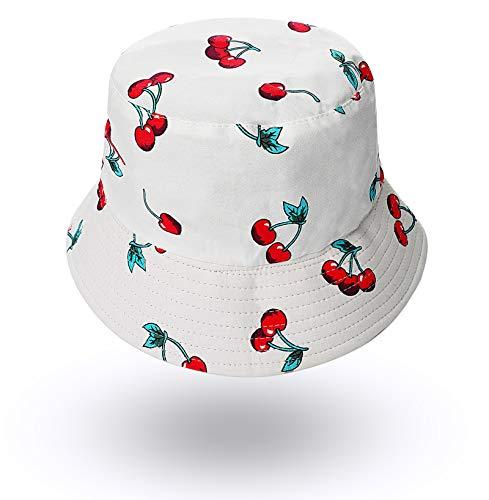 Fruit-Bucket-Hats Reversible Fisherman-Cap Packable Summer Sun Protection (White Cherry 1pc)