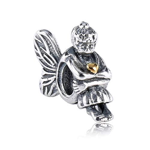 Pendentif en Argent 925 pour Femme, Creative Fashion Girl Angel Ailes Magnifique Collier Perles Bracelet Forme Charme pour Mesdames Le Cadeau d'anniversaire De Colocalisation Robe Présent Festiv