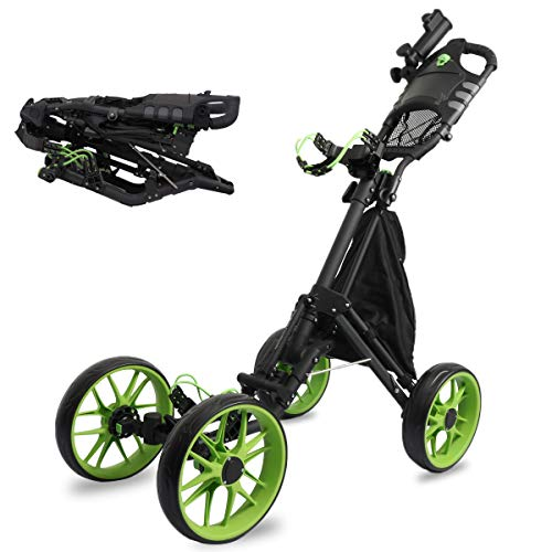 4 Wheel Golf Push Pull Cart, One Click Folding Compact Golf Push Cart with Umbrella Stand, Foot Brake, Cup Holder, Adjustable Handle, Storage Bag, Scorecard Holder Space for Golf Bags, Free Umbrella