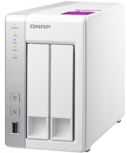QNAP TS-231P2-4G Quad-Core NAS-System, 3x USB 3.0 Ports, Dual-Gigabit LAN Ports, weiß