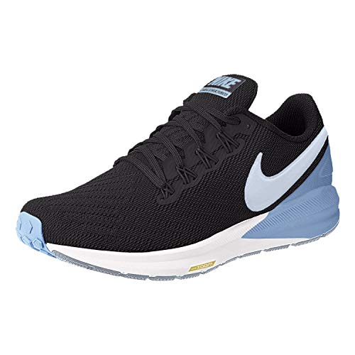 Nike Air Zoom Structure 22 Women's Running Shoe Black/Half Blue-Light Blue-Chrome Yellow Size 10.0