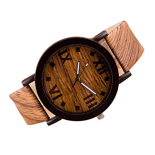 Relojes Hombres Mujeres Números de Reloj Madera PU Banda de Cuero Relojes de Pulsera analógicos de Cuarzo Vogue 03