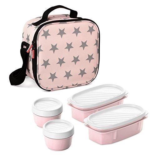 Tatay Urban Food Casual - Bolsa Térmica Porta Alimentos, 3L de Capacidad, con 4 Tuppers Herméticas, 2 x 0.5L, 2 x 0.2L, Color Rosa con Estrellas, Medidas 22.5 x 10 x 22 cm