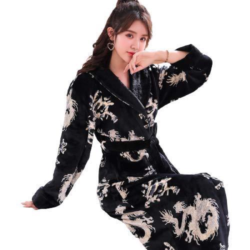 HAOXIANG Paar Winter Robe, Soft Flanell Dragon Print Bademantel Mit Taschen & Gürtel...