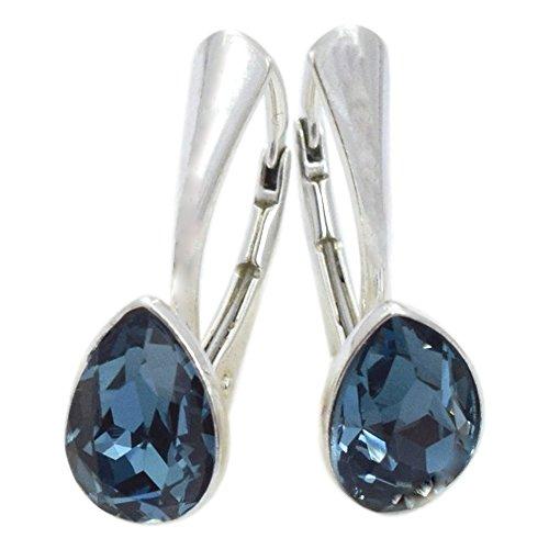 Crystals & Stones NEUHEIT - Tropfen - Wundervolle Ohrringe - Farbvarianten - Silber 925 Schön Damen Ohrringe mit Kristallen von Swarovski Elements - Wunderbare Ohrringe (Denim)