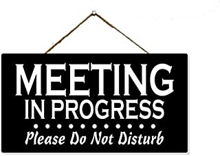 Chico Creek Signs Meeting in Progress Sign Wood Room Occupied Door Signs Hanging Office Do Not Disturb Wooden Session Hanger Do Not Knock 5x9.5 Gift SP-05950002016