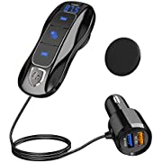 SONRU Bluetooth FM Transmitter for Car, Bluetooth 5.0 Car Wireless Radio Adapter with QC3.0 Fast Car Charger 5V/2.4A Dual Charging Port,Hands Free Car Kit, Music Player Support TF Card Siri Assistant
