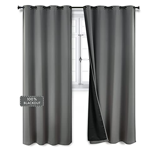 Bedsure 100% Grey Blackout Curtains 84 inches - Full Room Darkening Curtains for Bedroom 2 Panels - Soundproof and Thermal Insulated Drapes ( Gray, 52×84 )