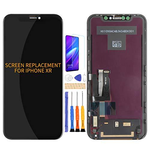 Kit de montaje de cristal digitalizador de pantalla LCD para iPhone XR, película templada, pegamento y herramientas (negro)