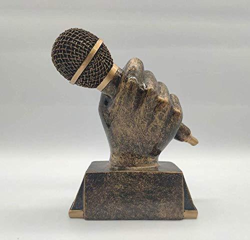 kglkb Escultura Decorativa Salon,Estatua Jardín Decoración Escultura Diseño Micrófono Dorado Canto Música...