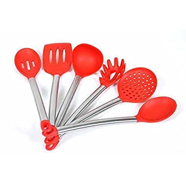 ChefzPros Nonstick Silicone Kitchen Utensil Set - Red