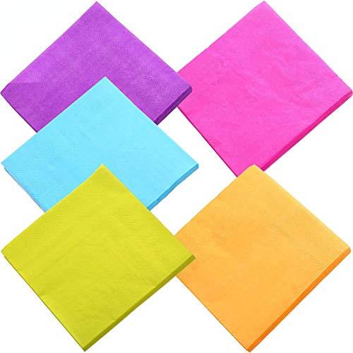 DuckMall - Tovaglioli di carta colorati per cocktail, 2 strati, per cucina, feste, matrimoni, cene o eventi, colori misti (100 pezzi)