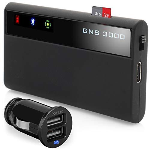 GNS 3000 MFI iPhone iPad iPod inkl. XAiOX KFZ Ladegerät Bluetooth GPS Empfänger mit Micro-USB Slot