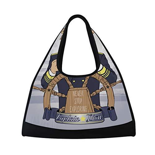 NISENASU Sporttasche,Hand gezeichnete Illustration Lion Captain Nautical,Neue Sport Reisetaschen Tennisschläger Rucksack Badminton Kurze Reisetaschen tragbare Umhängetasche (20×6.7×18.5 inch)