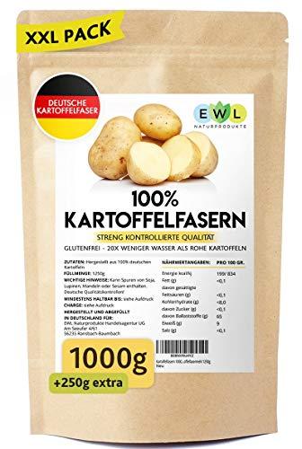 Kartoffelfasern 1000g + 250g extra XXL Vorteilspack Kartoffelfaser aus deutschen Kartoffeln I kontrolliert und abgefüllt in Deutschland I Kartoffelmehl Kartoffelfasermehl 1250g