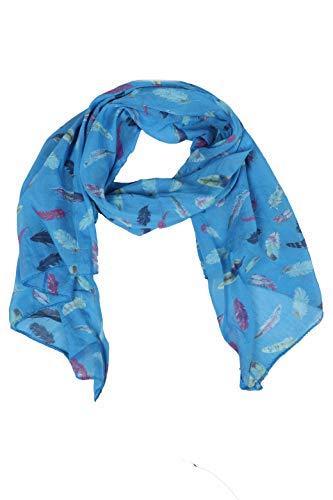 Zwillingsherz Seiden-Tuch Damen mit Feder Muster - Made in Italy - Eleganter Sommer-schal für Frauen - Hochwertiges Seidentuch/Seidenschal - Halstuch und Chiffon-Stola Dezent Stilvoll - Blau