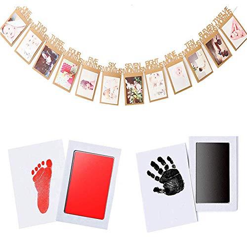LIZHIGE Huellas Bebé, kit marco huella manos Perfecto para el Regalo y Registro de la Fiesta de Recién Nacidos de la Familia (2Almohadilla de Tinta para Bebé 4 tarjetas de impresión)