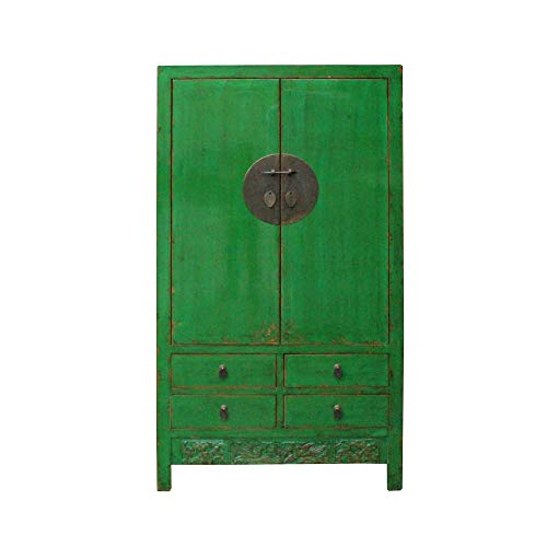 Check Out This Chinese Distressed Emerald Green Tall Wedding Armoire Wardrobe TV Cabinet Acs4905